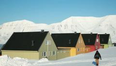 A small town in the far north of Europe among the snow-capped mountains. Stock Footage