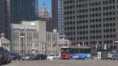 Chicago downtown traffic car large avenue Tribune sign company building emblem  Stock Footage