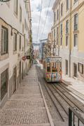 Lisbon's Gloria funicular in Bairro Alto - Lisbon - stock photo