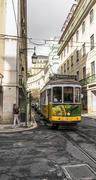 Yellow tram of Lisbon Stock Photos