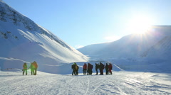 Group of fans of extreme tourism in the far North. Stock Footage