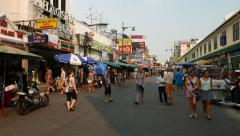 Few tourist stroll around Khaosan road, afternoon time, not crowded area Stock Footage