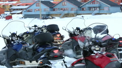 Snowmobiles ready for the expedition! - stock footage