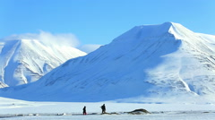 Snow-covered mountains of the Spitsbergen archipelago. Stock Footage