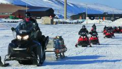 Stock Video Footage of The caravan of snowmobiles sent an expedition to the far north.