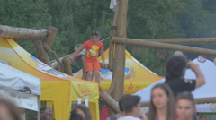 WKids playing at a music festival near the riverside, Cluj-Napoca Stock Footage