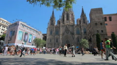 Tourists at Barcelona cathedral Stock Footage