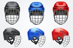 Set of Classic Goalkeeper Hockey Helmet - stock illustration