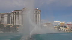 Amazing Bellagio fountain watershow Caesar hotel resort building Las Vegas icon  - stock footage