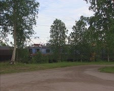 GALLIVARE, SWEDEN Ore transport on the ore railway to Lulea harbour Stock Footage