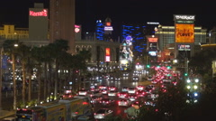 Aerial view heavy traffic street Las Vegas Strip night congestion car bustling  Stock Footage