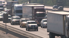 Smog and rush hour traffic jam along the 401 in Ontario GTA Stock Footage
