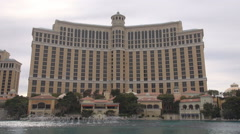 Amazing Bellagio fountain watershow Las Vegas tourism attraction landmark iconic Stock Footage