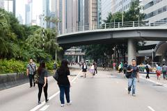 blocked off streets in Hong Kong's Central business district - stock photo
