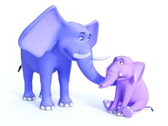 Cute toon elephant family, image 2. Stock Illustration