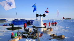 The anemometer measures wind speed in the Arctic polar station. Stock Footage