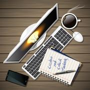 notebook and computer with mobile phone and coffee - stock illustration