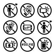 No selfies, no selfie sticks vector signs Piirros