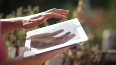 Close up of hands woman using her tablet Stock Footage