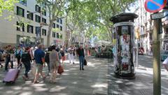 People walking on the Ramblas, Barcelona Stock Footage