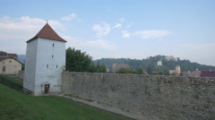 The restored bastion of Brasov fortress with a beautiful view above Brasov Stock Footage