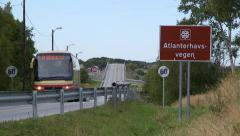 Road sign at Atlantic Ocean Road Norway Arkistovideo