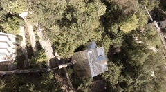 Bakhchisarai. Canyon Chufut-Kale. Roofs of houses top view. - stock footage