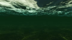 Dark Underwater Low Light Reflation Sea Stock Footage