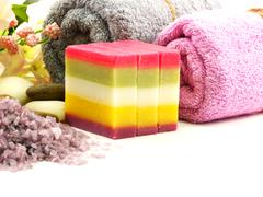 mixed fruit soap and towel for clean and health skin care - stock photo