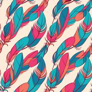 Colorful seamless pattern with feathers - stock illustration
