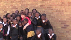 African school kids with a teacher Stock Footage