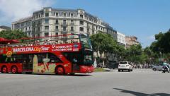 Tourist bus on Gracia Street, Barcelona Stock Footage