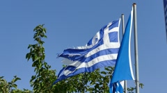 National flag of Greece is a little torn. - stock footage