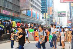 Umbrella Revolution in Mong Kok on October 2014 - stock photo