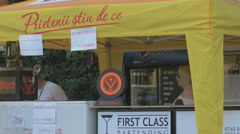 WFood and beverage stalls at River Fest, Cluj-Napoca Stock Footage