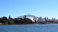 Farm cove and Sydney Harbour Bridge in 4k Stock Footage