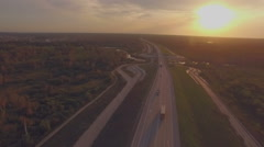 Intercity traffic, aerial shooting of highway - stock footage