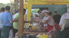 WSelling barbecue at River Fest, Cluj-Napoca Stock Footage