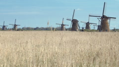 Ancient windmills near Kinderdijk, Netherlands. Stock Footage