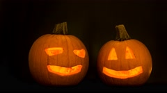 scary halloween pumpkins - stock footage