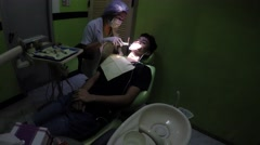 Curing Dental Inlays With UV Light equipment Stock Footage