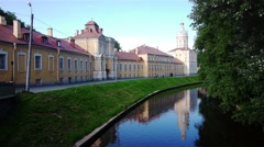 Tranquil view of Alexander Nevsky Lavra (convent) in Saint-Petersburg, Russia Stock Footage