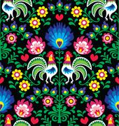 Seamless Polish folk art pattern with roosters - Wzory Lowickie, Wycinanka Stock Illustration