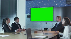 Team Of Office Workers Have Conversation in Conference Room - stock footage