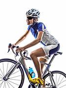 Woman triathlon athlete cyclist cycling Kuvituskuvat
