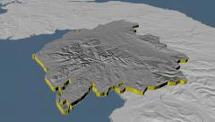 Cumbria - county of England extruded. Set of animations Stock Footage
