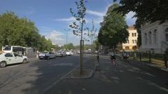 Walking on Eroilor Boulevard, near Baiulescu House, Brasov Stock Footage