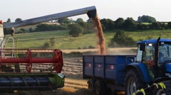 Combine harvester emptying wheat grain barwick in elmet united kingdom Stock Footage