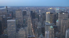 Aerial view amazing Manhattan crowded downtown tower traffic avenue New York USA Stock Footage