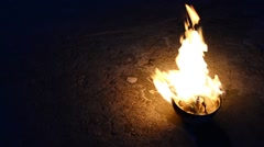 Fire in the bowl - stock footage